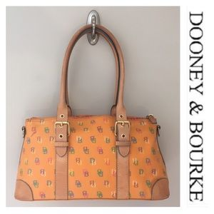 Dooney & Bourke Coated Canvas Orange Satchel Bag
